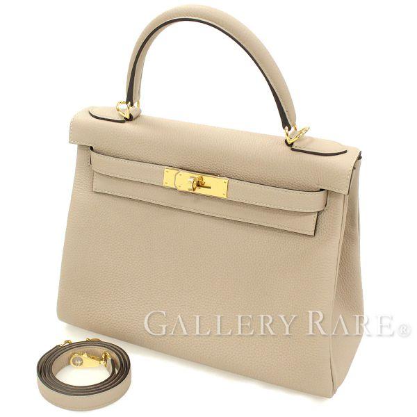 エルメス ハンドバッグ ケリー28 cm 内縫い トゥルティエールグレー×ゴールド金具 トゴ C刻印 HERMES Kelly バッグ
