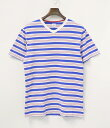 【中古】HEAD PORTER PLUS (ヘッドポータープラス) V NECK BORDER T-SHIRT WHITE / BLUE M 半袖ボーダーTシャツ