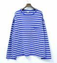 【中古】 UNUSED (アンユーズド) US1258 long-sleeve border pocket t-shirt. ロングスリーブボーダーポケットTシャツ 3 BLUE×WHITE 17SS 長袖 ビッグサイズ オーバーシルエット