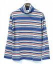 【新品】 Mr.GENTLEMAN (ミスタージェントルマン) MEXICAN BORDER TURTLENECK TEE メキシカンボーダータートルネックTシャツ T-SHIRT 長袖カットソー MGI-LCS06 BLUE M  MADE IN JAPAN