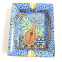 【中古】美品▽エルメス アッシュトレイ マンドリン 灰皿/小物入れ ブルー系×ゴールド フランス製 箱付き メンズ レディース