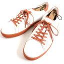 【中古】美品▽JMウエストン×ローランギャロス 649 Sneaker レザー スニーカー ホワイト×オレンジ 9 フランス製 メンズ