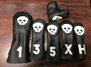 Rose&Fire Skull Headcover Black/White ローズアンドファイアー スカル ヘッドカバー ブラックホワイト 各種