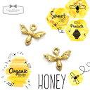 【チャーム】2個 みつばち 《きれいめゴールド 》 [ミツバチ, 昆虫,蜂の巣,蜂,立体,ハチ,はち