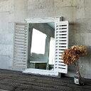 倉庫引っ越し大処分セール★木製ミラー【SQM310WH】 ANCIENT WINDOW FRAME MIRROR 白/カントリー雑貨・鏡・窓枠・ウィンドウ