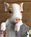 チアフルフレンズ こぶたのチャド(1003643-02)こぶたの引っかける置物/カントリー雑貨・ガーデニング・子豚・ジャンクガーデン・オブジェ・アニマル・ギフト