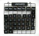 おしゃれ★PRIMITIVE CALENDAR S(黒)ワイヤー木製プレートカレンダー(TW710S BK) カントリー雑貨/万年カレンダー/アイアン