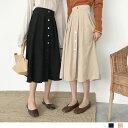 フレアスカート スカート レディースボトムス ロングスカート ウエストゴム(T) 韓国 ファッション 韓流 服 洋服 かわいい 可愛い おしゃれ レディースファッション アパレル カジュアル