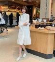 ショッピングベビードール 韓国ファッション スモールフレッシュ ハーフハイカラー ミディアムロング ワンピース(T)