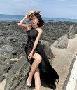 ショッピングベビードール に入る前の準備 大人上品 女性らしい 韓国ファッション 背透け感 海辺のホリデードレス(T)
