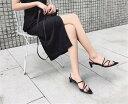 ショッピングスリッパ 2 WAY ポインテッドトゥ 靴と靴 レトロ スリッパ サンダル(T)