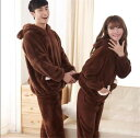 韓国ルームウェア パジャマ 厚手 レディース 快適 可愛い クマ フード付き(T)
