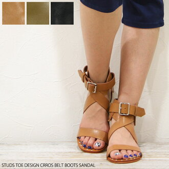 To toe studded Kiraly-スタッズトゥデザイン cross belt pettanko ブーツサンダル and flat Sandals Gladiator / booties wind / ブーサン / response