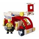 木製玩具 プラントイ 消防車 消防士2体付 はしご車