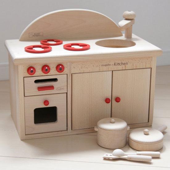 木のおもちゃ ミドルキッチンセット オーブン・コンロ お鍋、フライパン付 おままごとセット 木製 ミニキッチンシリーズ