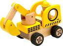 送料無料 木のおもちゃ アイムトイ はたらく車・イエロー ショベルカー・ブルドーザー・ロードローラー、3つの車の機能