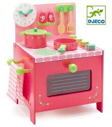 DJECOジェコ木のおもちゃリリローズクッカーキッチンおままごとセットクッキング調理台ピンクかわいい木製玩具
