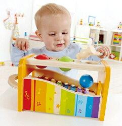 Hapeハペ社木のおもちゃパウンドアンドタップベンチボール叩き&鉄琴木製玩具楽器玩具ベビー