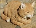 ガーデンオーナメント 香箱ねこ 香箱座り 猫 雑貨 茶トラネコ 置物 オブジェ ガーデニ
