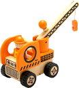 送料無料 木のおもちゃ アイムトイ はたらく車・オレンジ ダンプトラック・クレーン車・セメントミキサーの3つの車の機能