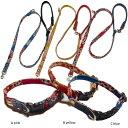 中型犬用 首輪とリードセット 花柄プリント、デニム、レザー