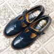 【送料無料】【再入荷】【2016秋冬】chausser/ショセ C2234ベルト付きメダリオンパンプスネイビー|ground|靴|