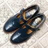【送料無料】【再入荷予約】【9月中旬頃入荷予定】【2016秋冬】chausser(ショセ) C2234 ベルト付きメダリオンパンプス エナメルネイビー|ground|靴|
