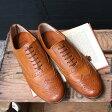 【ポイント5倍★】【送料無料】Men's chausser/ショセ C725 短靴ウィングチップシューズ ブラウン ground 靴
