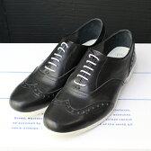 【送料無料】【2016秋冬】TRAVEL SHOES by chausser(トラベルシューズバイショセ) TR-004 ウィングチップマニッシュシューズ ブラック/ホワイト/ブラック×ホワイト|ground|靴|