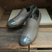 【送料無料】【2016秋冬】chausser(ショセ) C2244 異素材コンビスリッポンシューズグレイ|ground|靴|