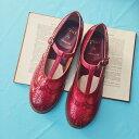 【数量限定】plus by chausser/プリュスバイショセ PC-5042 手染めエナメルTストラップシューズ レッド|ground|靴|