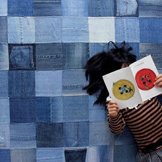 P19Jul15デニムラグジーンズカーペット【カラー】ブルージーンズ【サイズ】幅200×奥行140cm【主素材】デニム(コットン)100%ラグマットパッチワークカジュアルラグ敷き物ビンテージ風絨毯じゅうたんパッチワークラグ