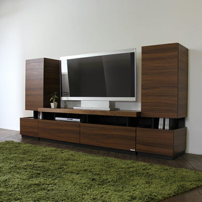 RS テレビ台 150 cm テレビボード TV台 セット カラー  ブラウン 色サイズ  総幅 230 ×奥行45×高さ115cm生産国  国産 日本製主素材  硬質シート ウォールナット 柄北欧 モデム収納 ハイタイプ TVボード 32型