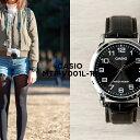 【10年保証】CASIO カシオ スタンダード メンズ MTP-V001L-1B 腕時計 レディース キッズ 子供 男の子 チープカシオ チプカシ アナログ シルバー ブラック 黒 レザー 革ベルト 海外モデル