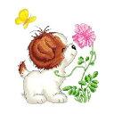 クロスステッチ 刺繍キット 可愛い子犬と花