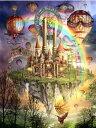 カラービーズストーン画 虹熱気球城
