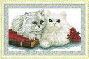 クロスステッチ刺繍キット グレー猫と白猫 図柄印刷 クロスステッチキット クロスステッチ ししゅう糸 刺繍糸 刺繍針 刺繍キット