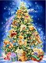 クロスステッチ 刺繍キット クリスマスツリーベアー (DMC刺繍糸) 図柄印刷 ししゅう糸