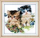 クロスステッチ 刺繍キット  布地に図柄印刷 子猫couple
