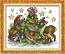 クロスステッチ 刺繍キット  布地に図柄印刷 Teddyのクリスマス