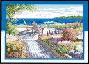 クロスステッチ 刺繍キット 布地に図柄印刷 花咲く海辺 クロスステッチキット クロスステッチ ししゅう糸 刺繍糸 刺繍針 刺繍キット