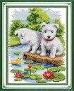 クロスステッチ 刺繍キット 布地に図柄印刷 蓮池2匹の子犬 クロスステッチキット クロスステッチ ししゅう糸 刺繍糸 刺繍針 刺繍キット