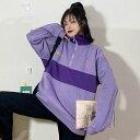 ショッピング予約 【予約商品】大きいサイズ 体型カバー 秋服 冬 韓国 ファッションゆったりシルエット ドロップショルダー 文字ロゴ ハーフジップセッター_20191016
