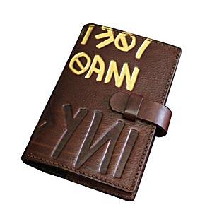 高級本革製システム手帳カバー【Ikuvina】ミニ6穴・金装飾