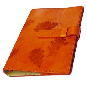 高級本革製システム手帳カバー【Impresso】A5サイズ・mandarin(オレンジ色)