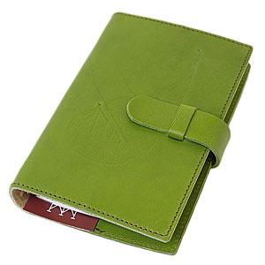 高級本革製システム手帳カバー【Impresso】バイブルサイズ・pea_green(緑色)