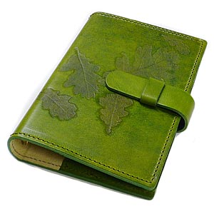 / Made in Italy leather / system Handbook cover / mini 6 hole refills (sold separately) item No. :off-org-small-nat-i-pea_green