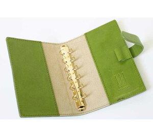 高級本革製システム手帳カバー【Impresso】ミニ6穴pea_green(緑色)