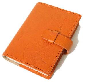 高級本革製ノートカバー(リフィルノート付)【Impresso】13×9cm(SSサイズ)mandarin(オレンジ色)