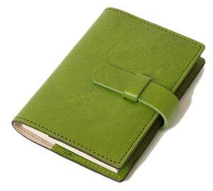 高級本革製ノートカバー(リフィルノート付)【Impresso】縦13×横9cm(SSサイズ)・pea_green(緑色)